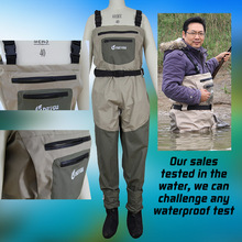 High quality chest fishing wader, breathable fishing wader, fishing trousers with front pocket(China (Mainland))