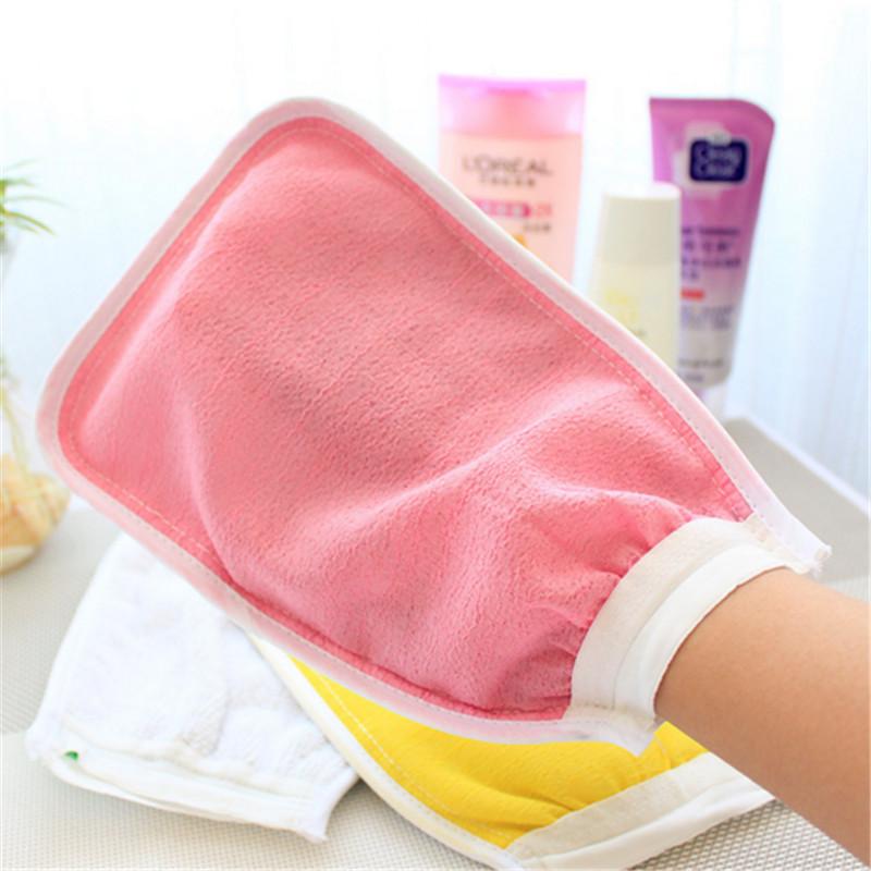 Massage natural Loofah Scrubber Shower glove Exfoliating mitt nylon towel Wash Skin Spa peeling body sponge Bath Gloves(China (Mainland))