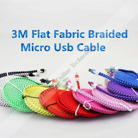 3M Flat Micro Usb Fabric Braided Colorful Usb Cable For Samaung/htc/Sony Ericsson/LG 20pcs/lot(China (Mainland))