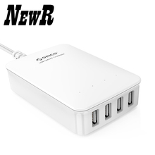 NewR DCL-4U-WH 4 Ports Smart  Super Charger for Tablet PC 40W Wall Travel Charger-White