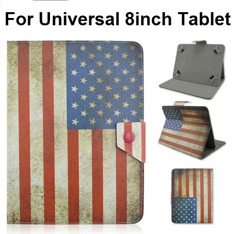 Universal New Magnetic UK US Flag Design Flip Stand PU Leather tablet Case cover for 8 inch Tablet PC with Elastic Belt Corners(China (Mainland))