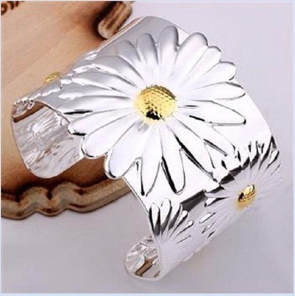 Wholesale 925 Silver Bracelet Free shipping 925 jewelry,925 sterling Silver Fashion bangle Large daisy SA41(China (Mainland))
