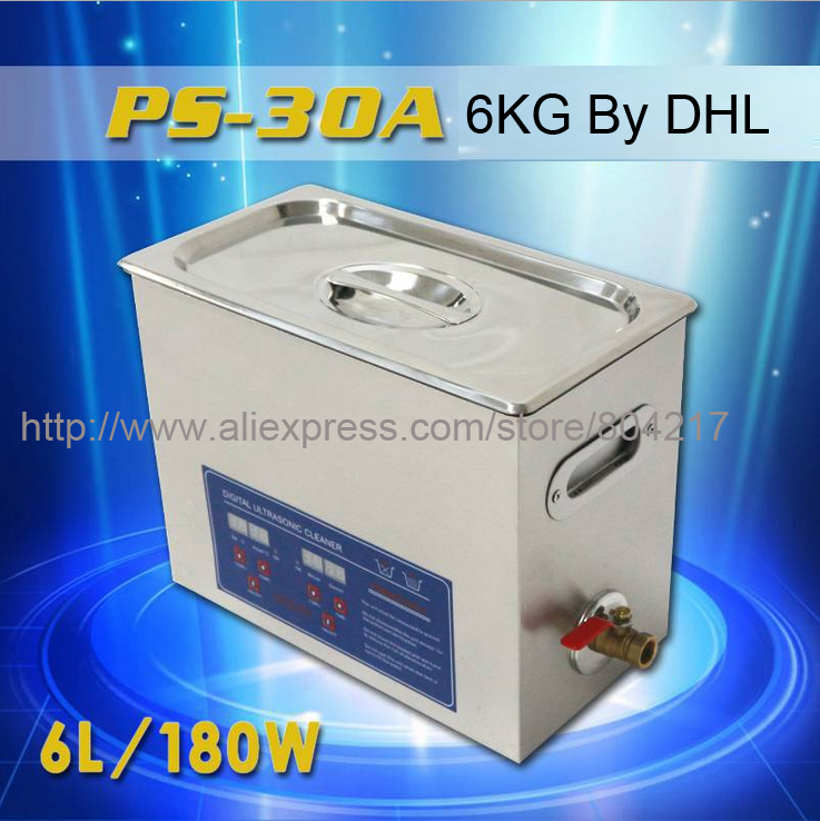 New Stainless Steel PS-30A 110V / 220V 6L Industry Heated Ultrasonic Cleaner Heater Timer Cleaner Cleaning Equipment Machine(China (Mainland))