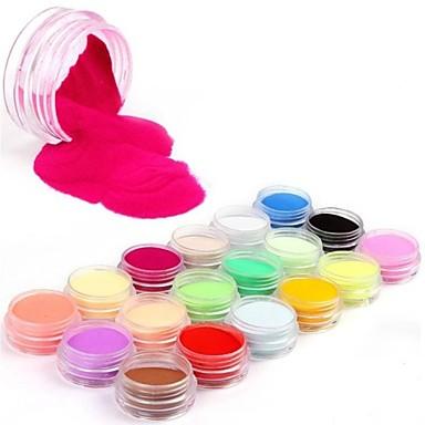 18 Colors Professional Glitter Colourful Carving Pattern Acrylic Powder Nail Art Kit(China (Mainland))