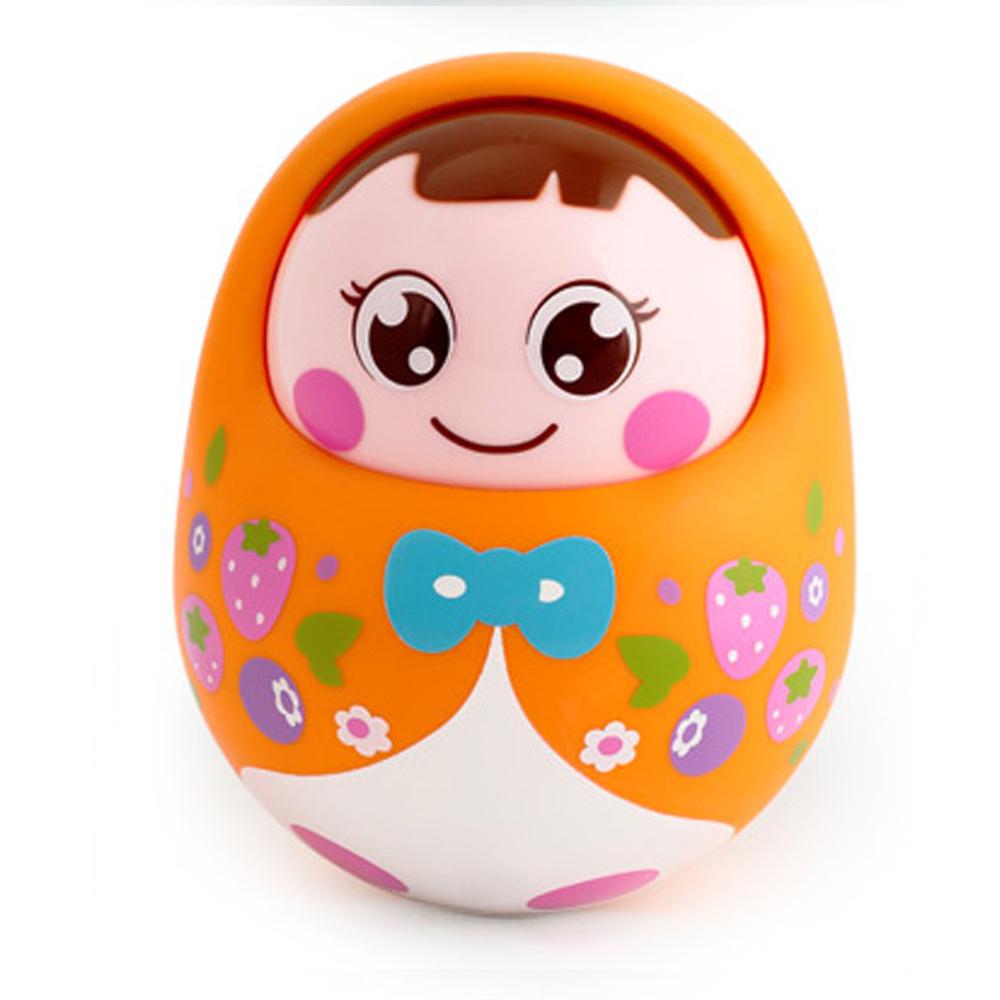 Baby Rattle Lovely Nodding Doll Tumbler Push and Pull Sound Infant Newborn Musical Toys -Orange(China (Mainland))