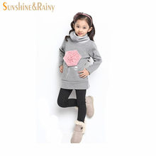 Large Size(6-13)Years Girls Floral Cotton High Collar Sweater Coat Child Teens Female Casual Pullover Rose Sweatshirts Hoodies(China (Mainland))