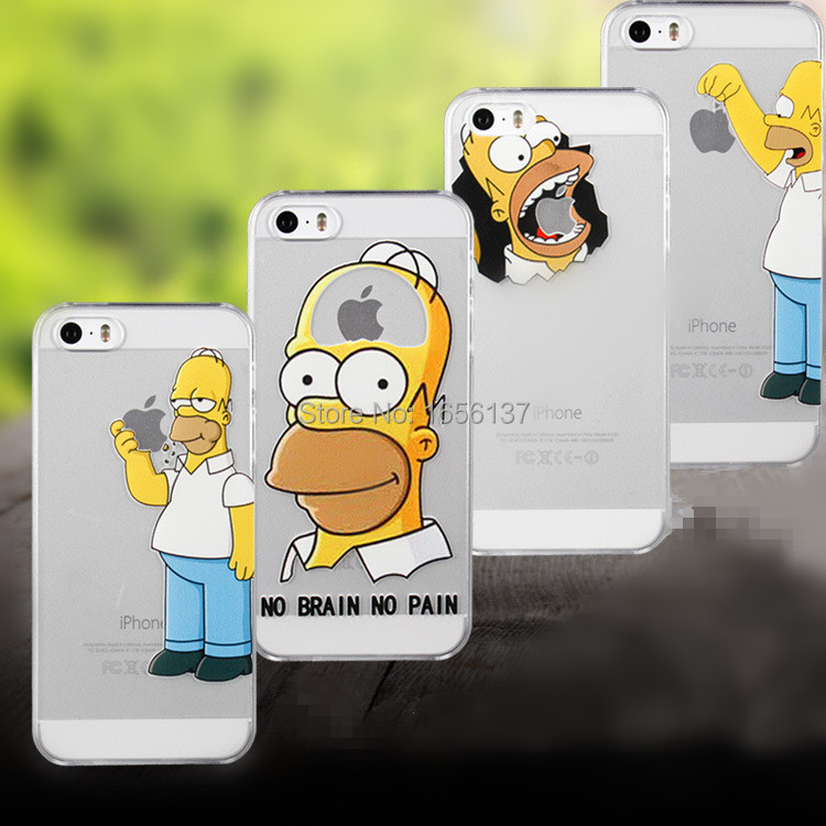 2015 New Arrive For Apple i Phone iPhone 5 5S Case Transparent Simpson Snow White Hand Grasp The Logo Cell Phone Cases Covers(China (Mainland))