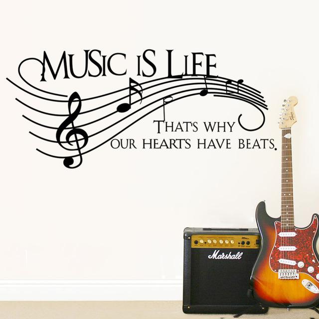 Музыка это почему наших сердцах есть бьет стикер стены Hoom искусства наклейки винил искусство съемный слово надписи искусство винил наклейка