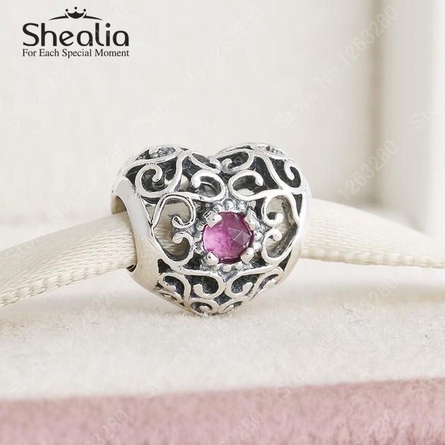 Стерлингового серебра 925 ажурные в форме сердца июля синтетического рубина камень подвески ювелирных украшений женщины Bracelets DIY аксессуары BD304