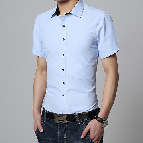 Short sleeve men dress shirt summer fashion brand cotton for Mens dress shirts sizes