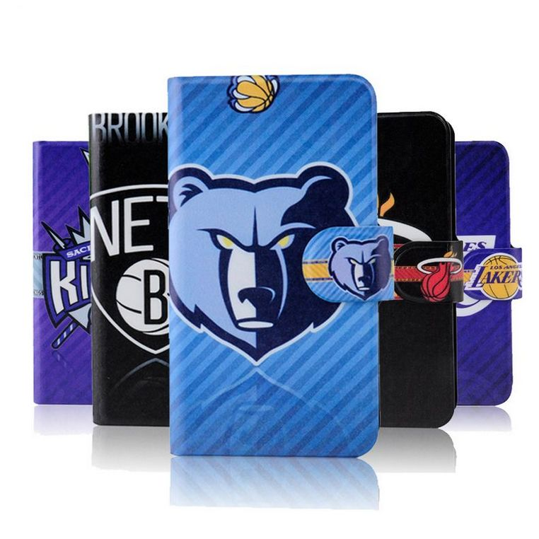 Hot Sale Popular NBA Team Logo Design Card Slot Leather PU Flip Case Cover For iPhone 5 5s(China (Mainland))