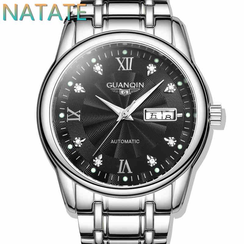 Здесь можно купить  NATATE Fashion Men GUANQIN Brand Watches Luxury Watch Automatic Self Wind Hand Wind Business waterproof Diamonds Watches 1240  Ювелирные изделия и часы
