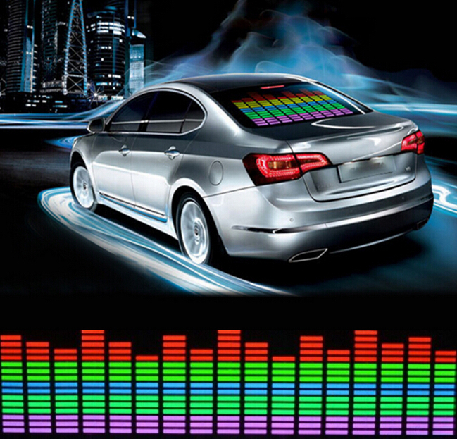 car sticker music rhythm led light lamp colorful flash sound activated equalizer el sheet rear. Black Bedroom Furniture Sets. Home Design Ideas