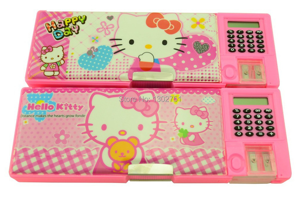 Hello Kitty kids pencil-box/calculator pen case/ girls automatic pensil case/ students utiles escolares cartoon stationery(China (Mainland))