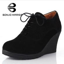 BONJOMARISA Brand High Heel Wedges Shoes Platform Pumps Women Lace up Casual Shoes Sexy Women Shoes Fall Winter Sexy Pumps(China (Mainland))