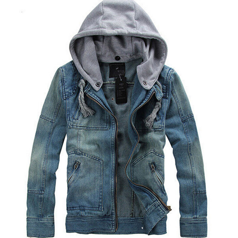 2015 new men clothing jean coat jeans outwear fleece demin jacket cotton coat hooded high quality detachable hood M-5XL size(China (Mainland))
