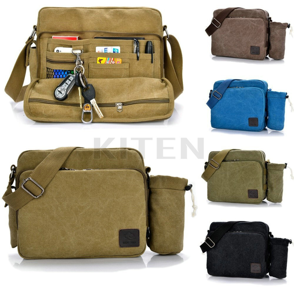 Mens Multi-function Canvas Shoulder Briefcase Handbag Work Messanger Laptop Bag with Bottle Kettle Side Bag(China (Mainland))
