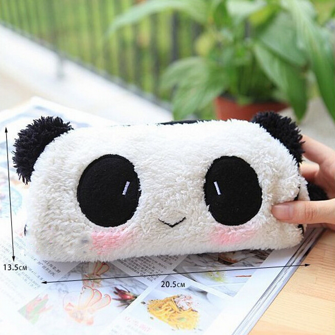 New Arrival Cute Cartoon Plush Panda Pencil Case High Quality Comfortable Cotton Pencil Bag Stationery For School Students(China (Mainland))