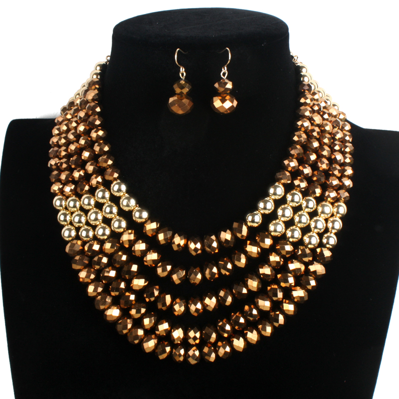 chunky crystal strand necklace beads jewelry statement chain choker women fashion gold plate bead collar necklace 6250(China (Mainland))