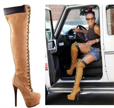 TOP Fashion Womens High Platform Knee Lace-up Boots HOT Selling Winter Thigh boots Knight booty sale size 13 - Rose's Boutique store