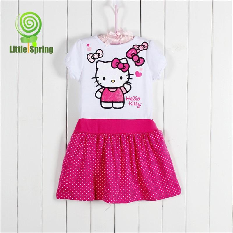 hello kitty dress girls short sleeve dress summer models 2015 new cartoon fashion dresses for 2-4 years old girl(China (Mainland))