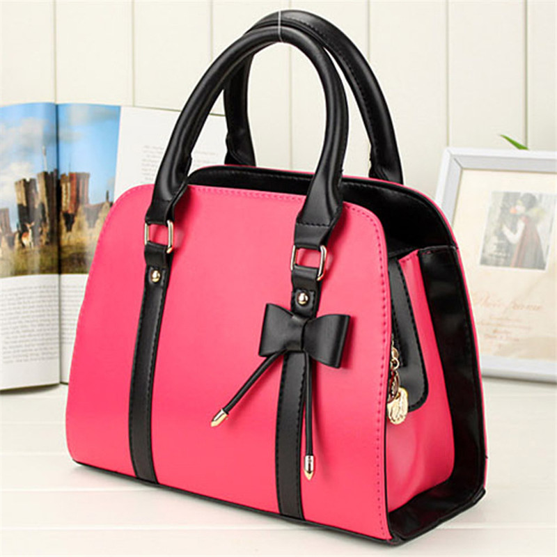 2015 Fashion Women's Shoulder Bags Faux Leather Messenger Lady Handbags Tote Bag With Bow Bags Handbags Women Famous Brands  New