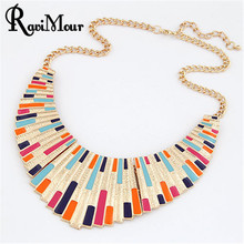 New 2016 Brand Women Men Jewelry Punk Gold Plated Fanshaped Torques Enamel Statement Necklaces Pendants Collier Collares Joyas(China (Mainland))