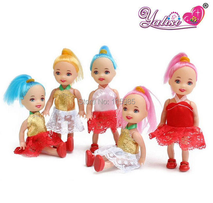 5pcs/lot 10cm Confused doll gift mini girl dolls kelly Fashion Popular dolls plastic girl gift dolls toys Free shipping(China (Mainland))