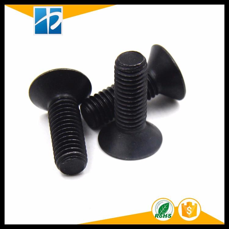 (50 pc/lot) M2,M2.5,M3,M4 *L =4~50mm black oxide grade 10.9 class DIN7991 alloy steel Hex socket flat head CSK screw