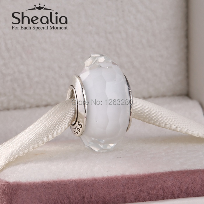 Suitable for pandora style bracelets fascinating faceted white murano glass beads 925 sterling silver SHEALIA jewelry MG047<br><br>Aliexpress