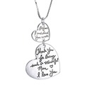 Fashion 2 Double Heart Pendant Necklace Words Message Engraved Pendant Necklace For Gift