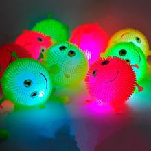 50pcs/lot  mix color flash Led bouncy balls glowing smile soft rubber ball toy luminous for party supplies jump fluffy ball toys(China (Mainland))