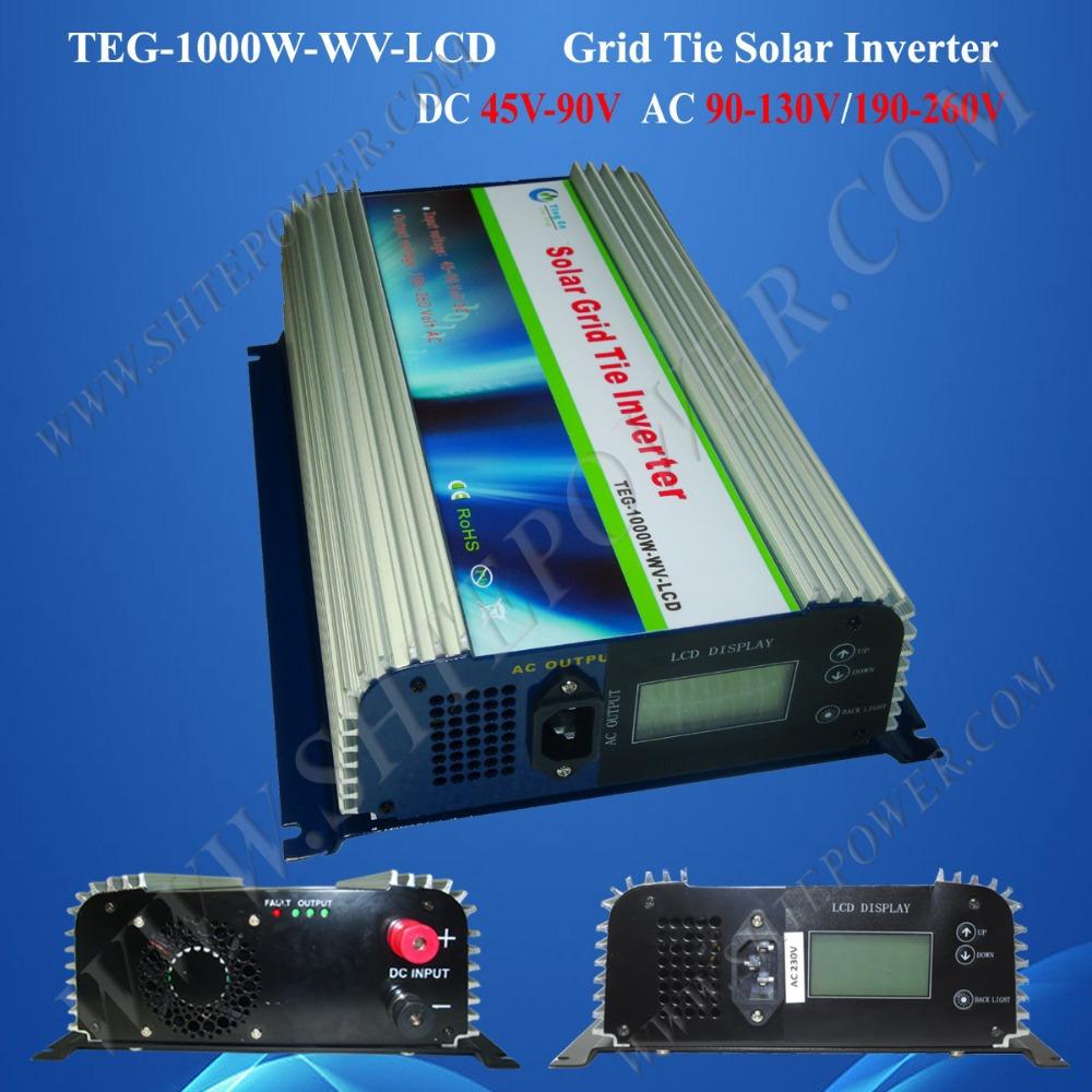 grid tie solar inverter 1kw, solar grid-tied inverter 1000w dc 45-90v input to ac 220v, 230v, 240v country(China (Mainland))