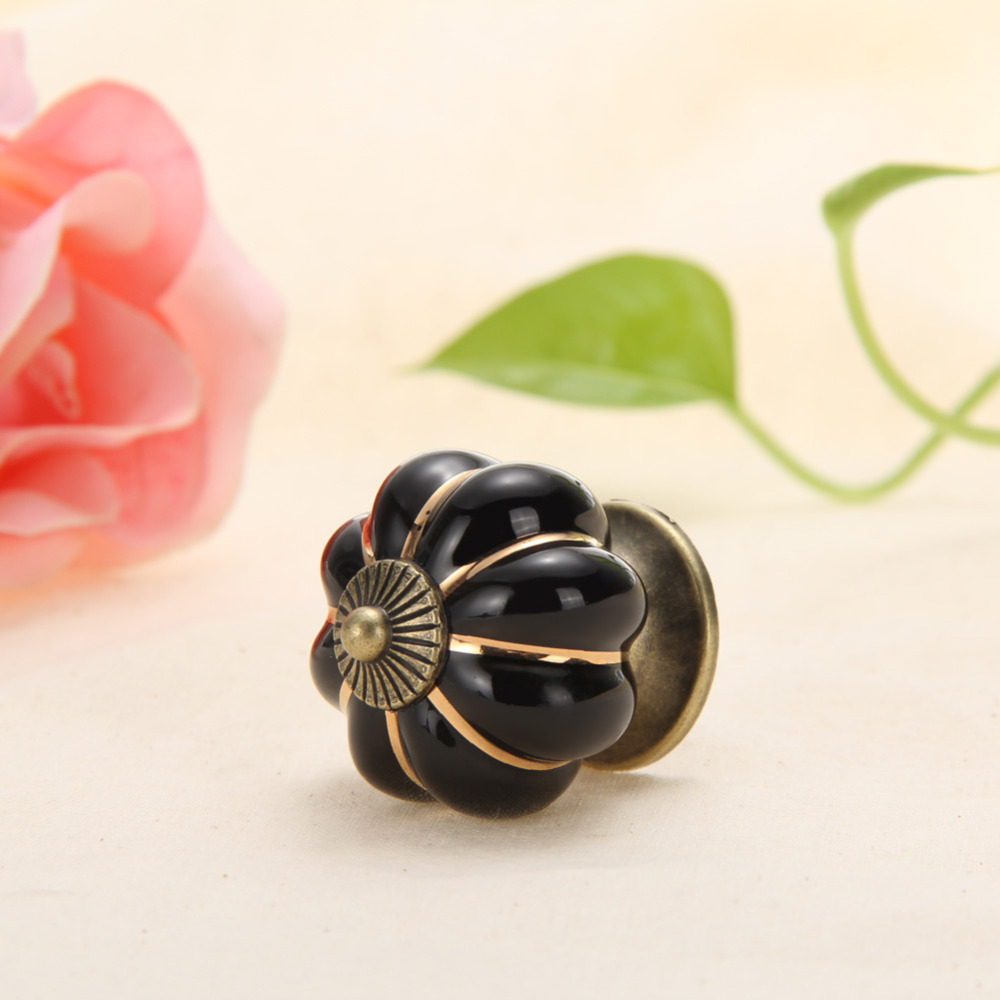 Hot selling 2016 New Vintage Pumpkin Ceramic Door Knob Cabinet Cupboard Drawer Pull Black Color High Quality Drawer Handle(China (Mainland))