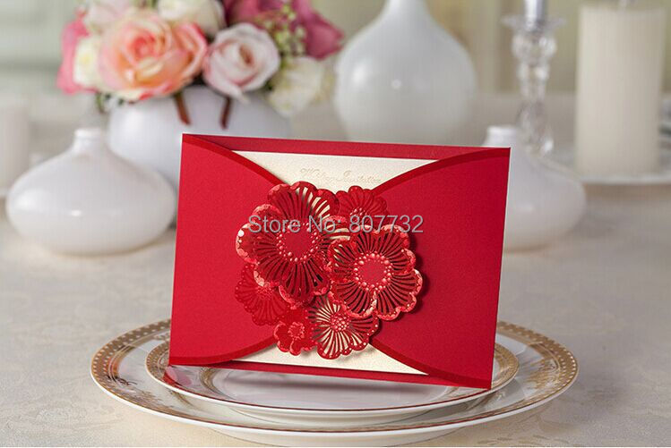 Red Flowers High Quality Wedding Invitation Card 185*128mm Embossment, With Envelopes, Inner Paper And Seals For Free(China (Mainland))
