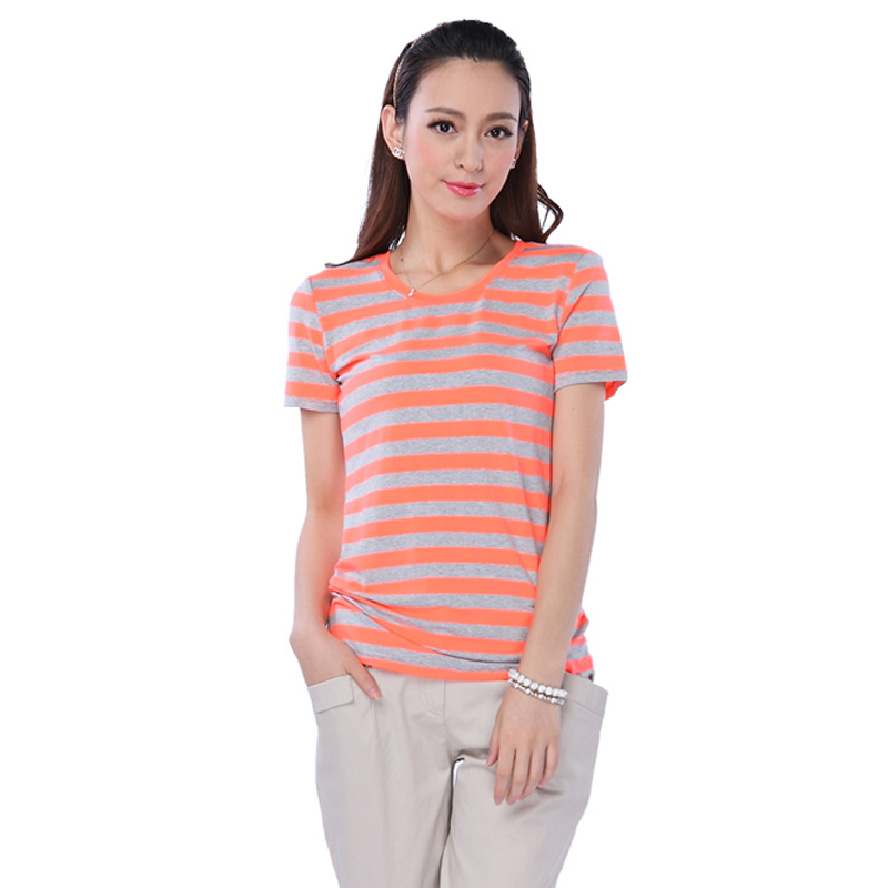 Both counters 2013 fluorescent color thick stripe t shirt for Thick white shirt womens
