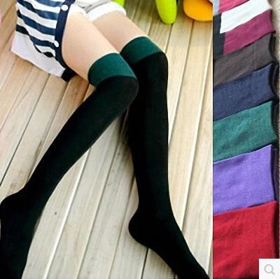 100% cotton long boot over-the-knee thigh thermal stockings black knee high socks(China (Mainland))