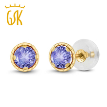Buy 0.60 Ct Round 4mm Blue Natural Tanzanite Earrings For Women Solid 14K Yellow Gold Stud Earrings GemStoneKing for $39.59 in AliExpress store
