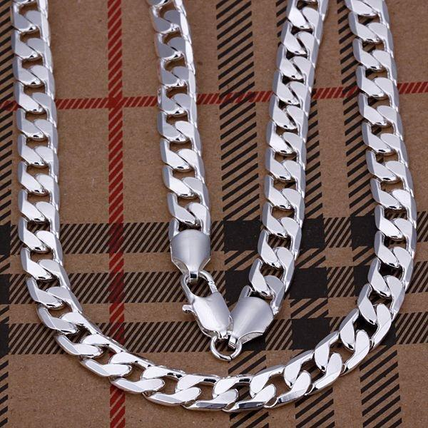 SALE wholesale 8mm width 925 Silver man jewelries fashion jewerly 20 24 inches mens chain curb