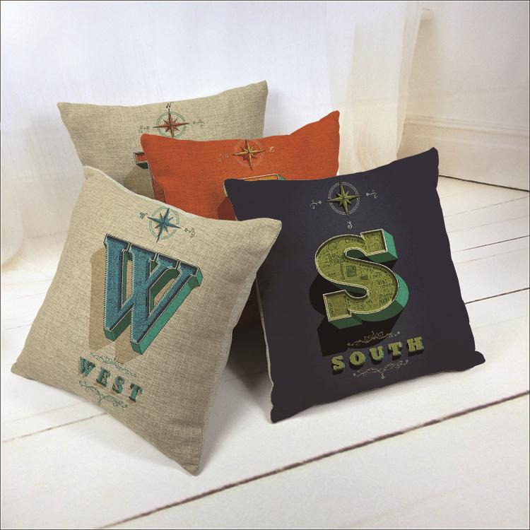Hot Sale Thick and Thin Cotton Linen Decor Pillow New Home Fashion Gift 45cm Guide Road Sign West South East Office Sofa Cushion(China (Mainland))