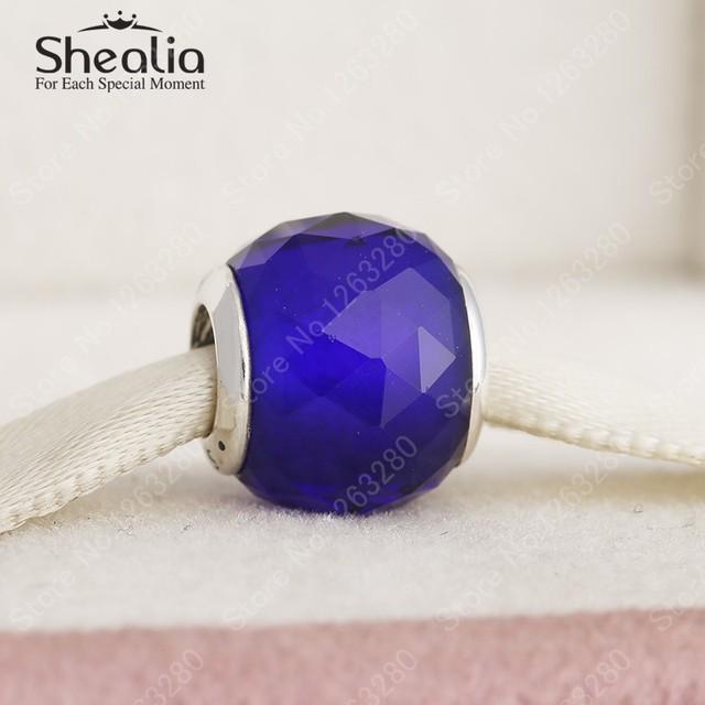 925 автор отверстия темно-синий CZ геометрические грановитая шар прелести DIY ювелирных украшений аксессуары для женщин браслеты