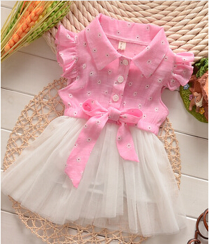 Summer Style Kids Dress Girls' clothing Fashion baby girls Casual polo dress Cotton Voile Patchwork Lovely girl Dresses(China (Mainland))
