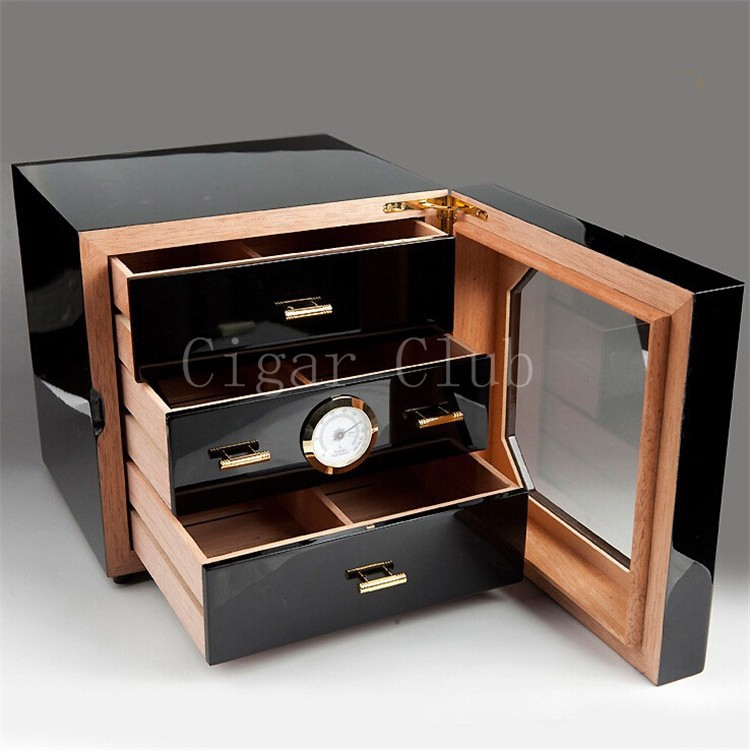 COHIBA Luxury Square Black High Glossy Finish Wooden Cigar Cabinet Humidor Best Storage Box W/ 3 Drawers Hygrometer Humidifier
