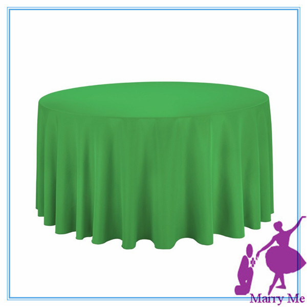15pcs used round banquet tables for sale/Green100% Polyester 108'' Round Tablecloth supplier from china(China (Mainland))