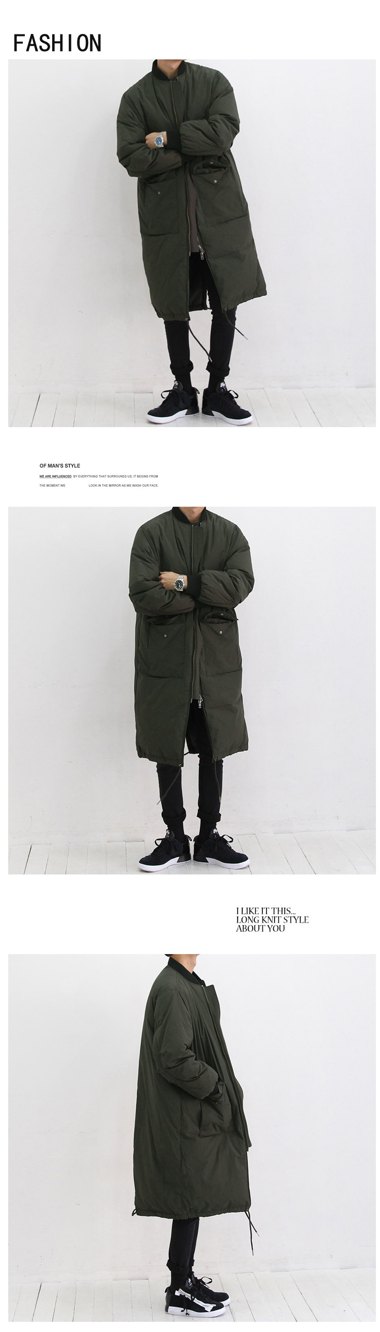 Long Parkas Coat Men Warm Winter Thicken Cotton-padded Jacket Male Stand Collar Male Loose Coat