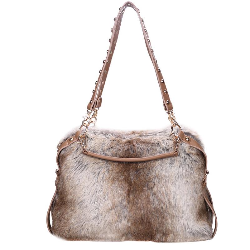 2016 Winter Female Handbags Rabbit Synthetic Fur Bag Women Purse Big Tote Hand Bags Women Shoulder Messenger Bags Faux Fur Bag