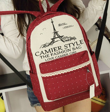 Girls Backpacks  Women Travel Bags Eiffel Tower Student School Bag Girl Canvas Bags Casual Travel Rucksack  F143(China (Mainland))