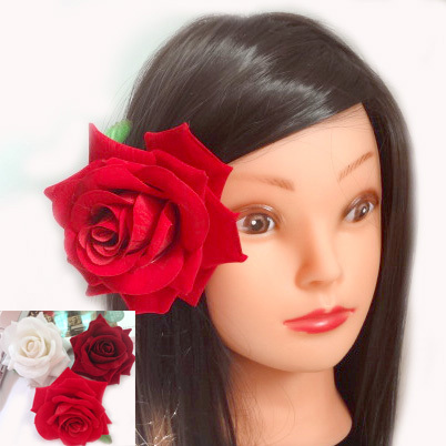 25pcs/lot High Quality Artificial Velvet Rose Flower Hair Clips. Wedding Party Woman Flower Hair Fascinator. 11cm(China (Mainland))