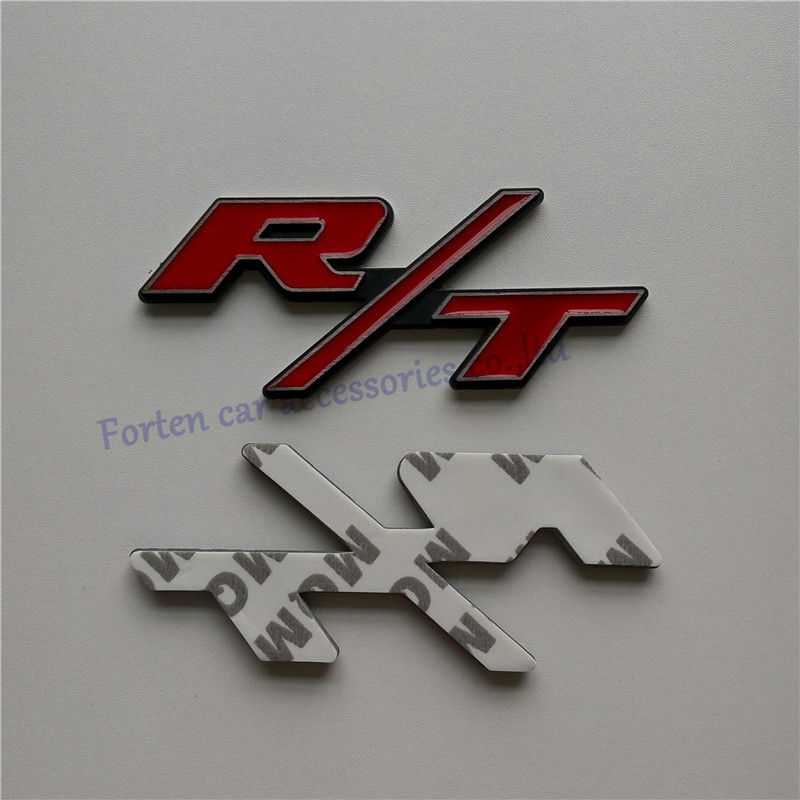 Car R/T Metal Rear Trunk Emblem Red And Black For Dodge Challenger 3D Letter Sticker Tail Badge(China (Mainland))