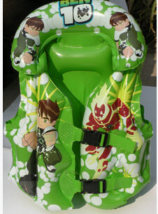 New Safety Thick PVC Inflatable Ben 10 Swimming Suit Clothing Kid Life Jacket Children Nontoxic Cartoon Swimsuit Vest(China (Mainland))